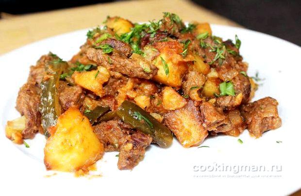 Азу по татарски с солеными огурцами с картошкой рецепт с фото пошагово