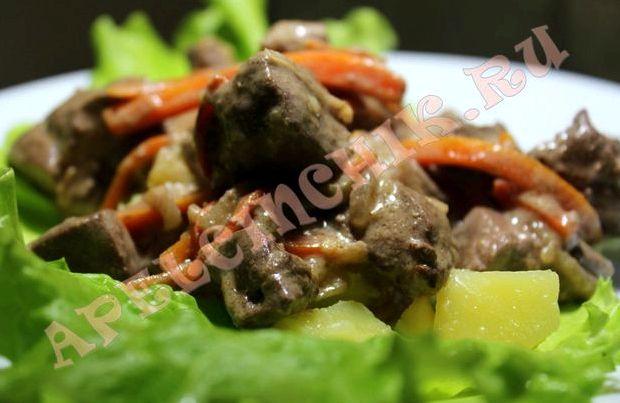 Бефстроганов из говяжьей печени со сметаной рецепт с фото пошагово