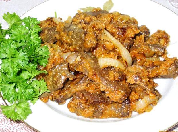 Бефстроганов из печени со сметаной рецепт с фото пошагово