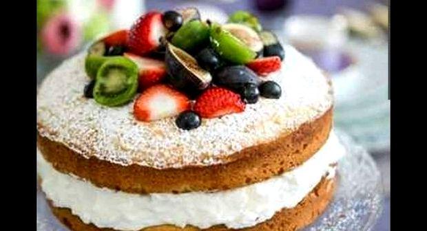 Бисквитный торт с фруктами и сметанным кремом рецепт с фото