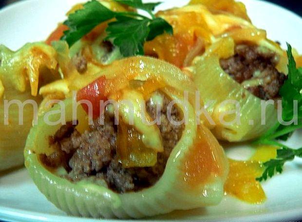 Фаршированные макароны ракушки с фаршем в рецепт с фото