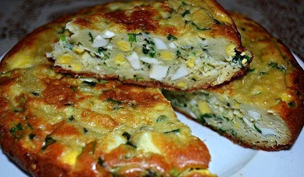 Пирог с зелёным луком и яйцом рецепт с фото