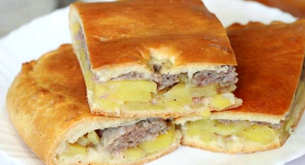 Пирог заливной с фаршем и картошкой в духовке пошаговый рецепт с фото