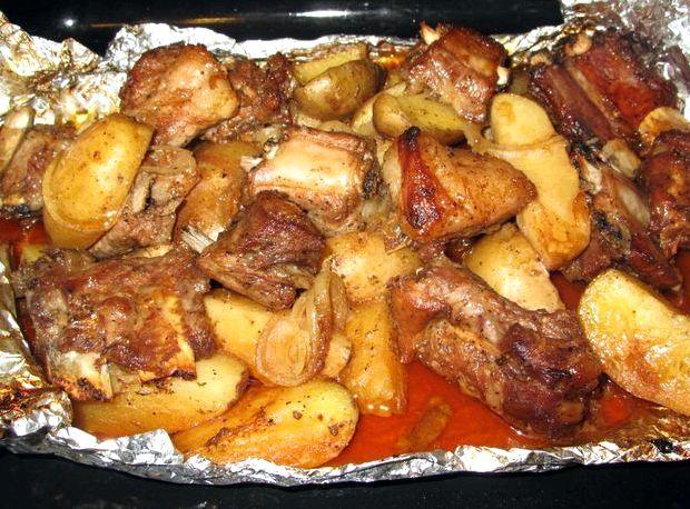 Ребрышки с картошкой в духовке рецепт с фото