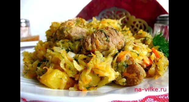 Рецепт бигуса с мясом из свежей капусты с картофелем