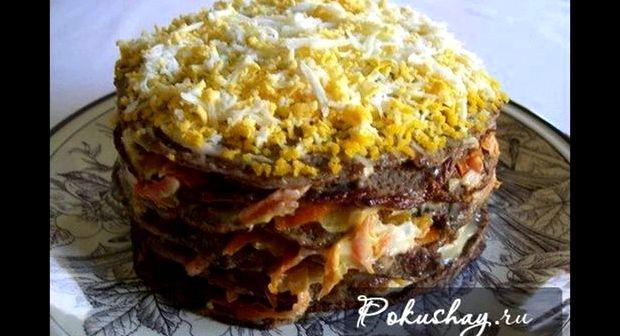 Рецепт печёночного торта из свиной печени с фото пошагово