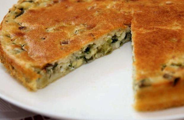 Рецепт пирог с зеленым луком и яйцом на кефире