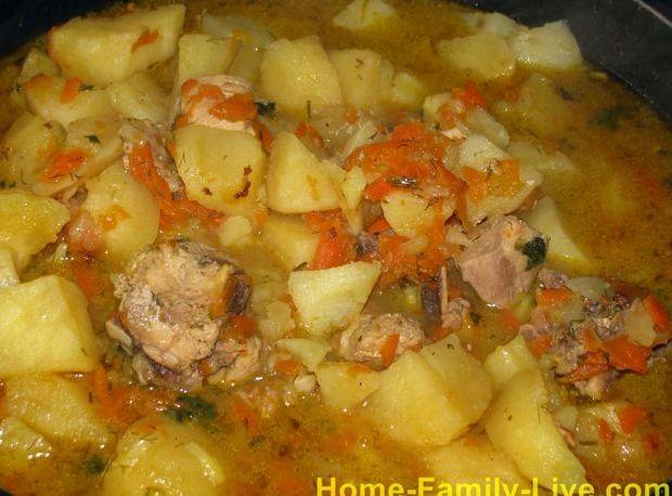 Рецепт тушеной картошки с тушёнкой в кастрюле
