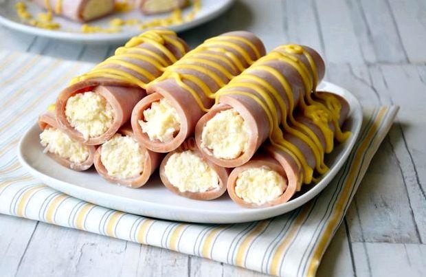 Рулеты из ветчины с сыром и чесноком пошаговый рецепт