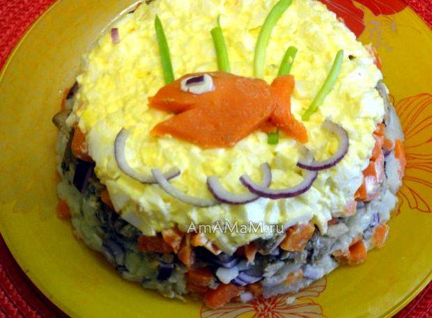 Рыбный салат рецепт из консервов с картошкой и горошком