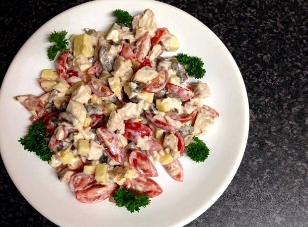 Салат из курицы с грибами и фасолью рецепт с фото очень вкусный