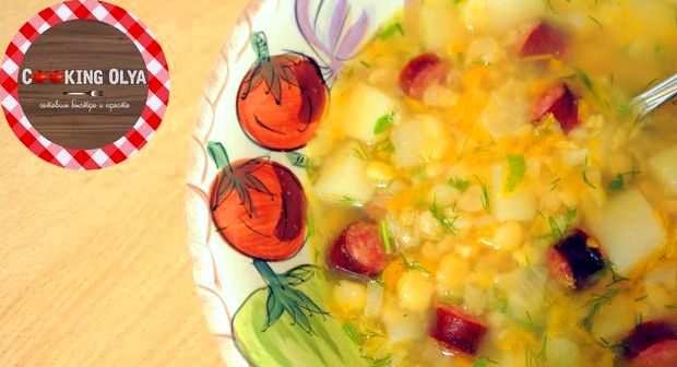 Суп гороховый с охотничьими колбасками рецепт с фото