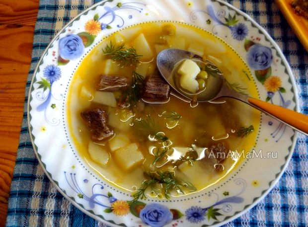 Суп из консервированного зелёного горошка рецепт