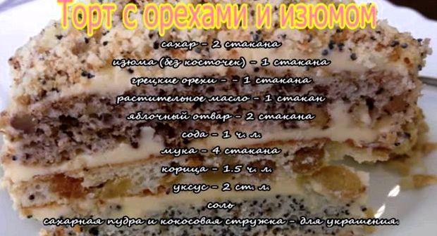 Торт дамский каприз с маком изюмом и орехами рецепт с фото