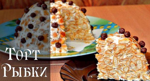 Торт из печенья без выпечки со сгущенкой и сметаной рецепт с фото пошагово