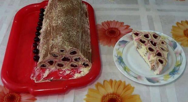 Торт монастырская изба с вишней со сметанным кремом рецепт