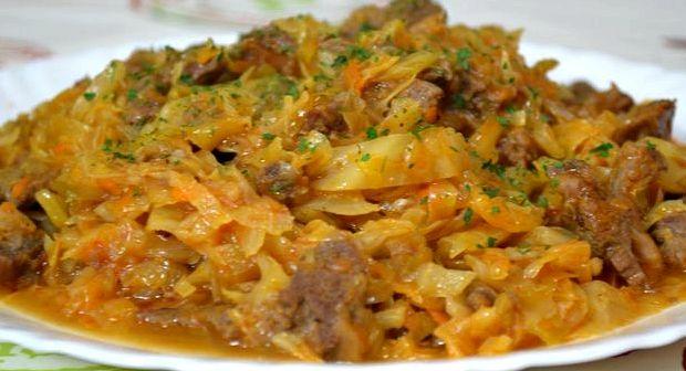 Тушёная капуста с картошкой с мясом рецепт с фото пошагово
