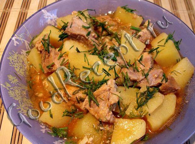 Тушёная картошка со свининой в кастрюле пошаговый рецепт