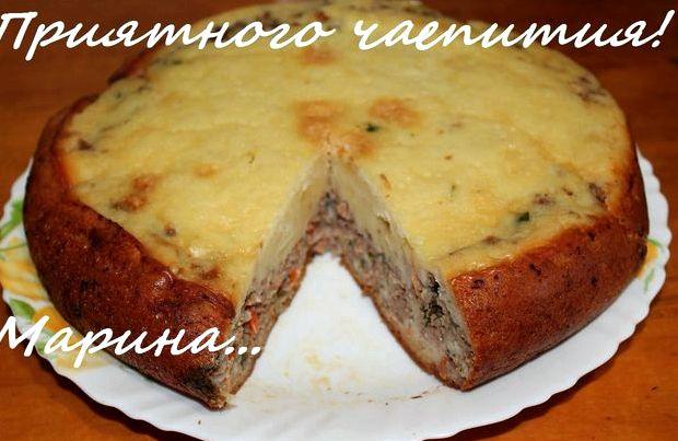 Заливной рыбный пирог с картошкой рецепт с фото